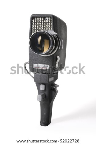 Retro 8 mm film camera isolated on white.with path - stock photo