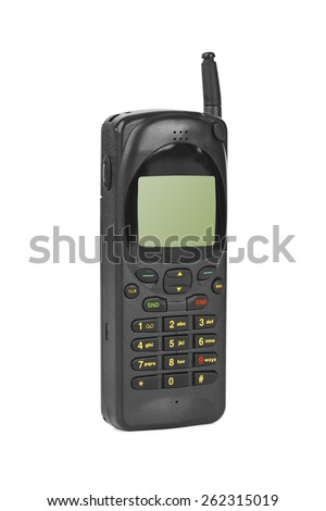 Retro mobile phone isolated on white background - stock photo