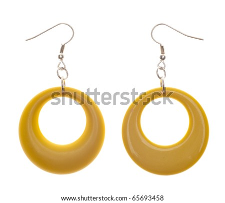 Retro Modern Yellow Plastic Earrings.  Isolated on White with a Clipping Path. - stock photo
