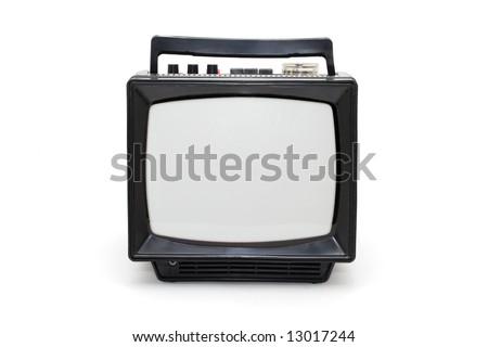 Retro monochrome TV set on white background - stock photo