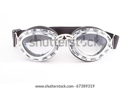 Retro motorcycle goggles, isolated over white background