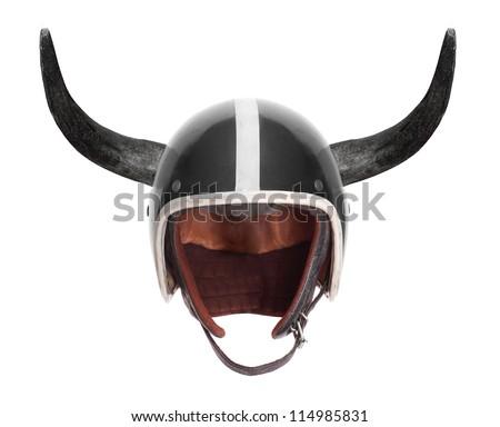 Retro motorcycle helmet with bull long horns. - stock photo