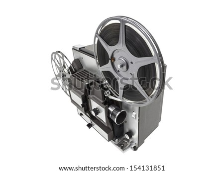 Retro movie film projector isolated with clipping path. - stock photo