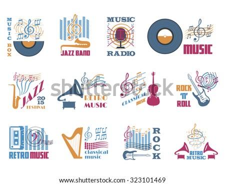 Retro music classical jazz and rock flat emblems set isolated  illustration  - stock photo