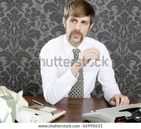 retro mustache businessman office desk on vintage wallpaper - stock photo