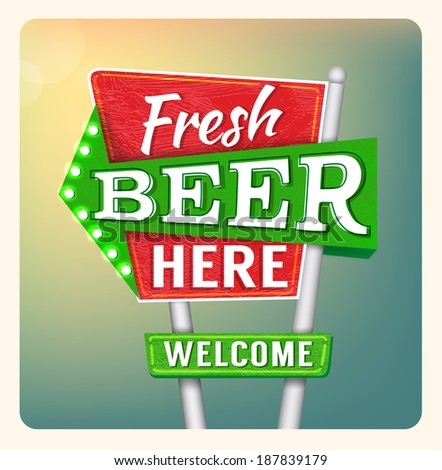 Retro Neon Sign Beer lettering in the style of American roadside advertising vintage style 1950s. Raster version.  - stock photo