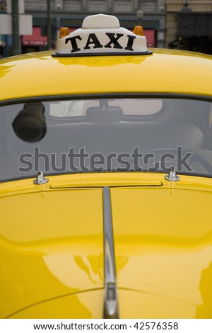 retro new york yellow taxi, front end view, - stock photo