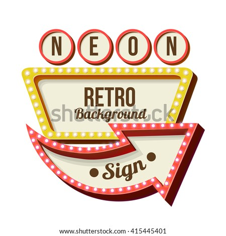 Retro night sign with an arrow. Vintage 3D volumetric banner. Outdoor advertising. Realistic character to your text. Design ellement for your advertising banner, illustration, billboard neon vintage  - stock photo