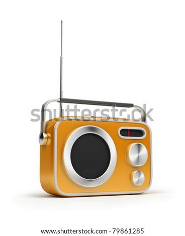 Retro of radio of yellow colour. 3d image. Isolated white background. - stock photo