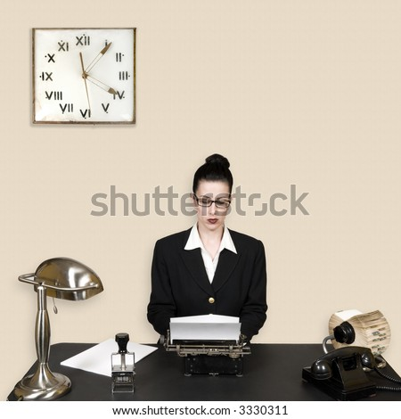 Retro office worker in vintage corporate environment - stock photo