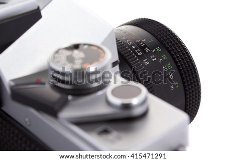 Retro old camera details close up - stock photo