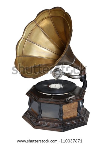 retro old gramophone with horn - stock photo