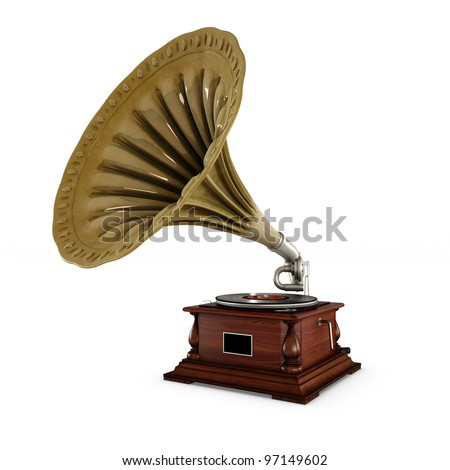 retro old gramophone with horn isolated on white with Clipping Path - stock photo