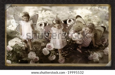 Retro old post card with fairy - stock photo