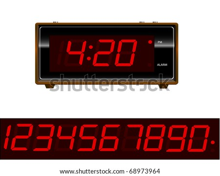Retro old school alarm clock with numbers - stock photo