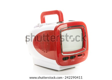 Retro old television small plastic case. - stock photo