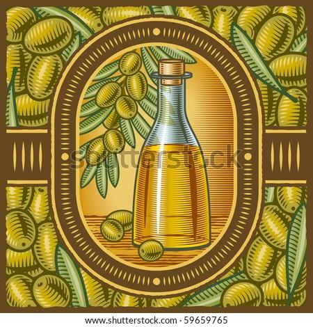 Retro olive oil - stock photo
