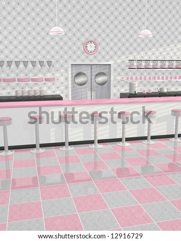 Retro Or Vintage Diner In Pink White And Gray Color Scheme With Counter
