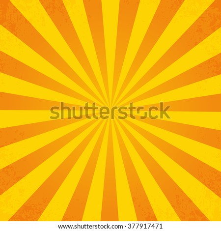 Retro orange background ray in vintage style  with dirt - stock photo