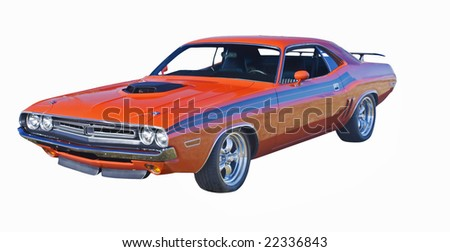retro orange muscle car with hood scoop and black stripes - stock photo