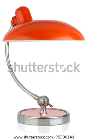 Retro orange table lamp on on white background. - stock photo