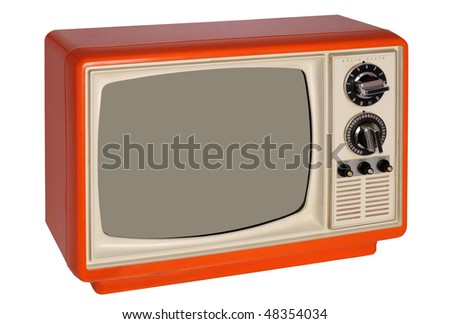 Retro orange TV set - stock photo