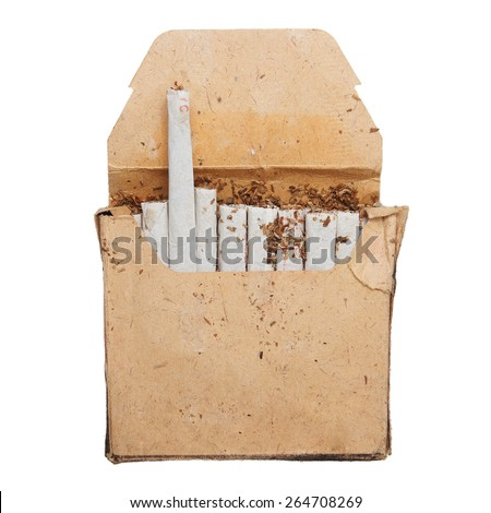 Retro pack of cigarettes made of rough paper - stock photo