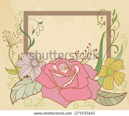 Retro paint flower frame elements with rose and other plants - stock photo