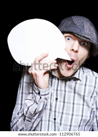 Retro Paperboy Making Speech Bubble Announcement When Selling News On Dark Copyspace Background - stock photo