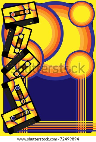 Retro Party Background - audio cassette tape on multicolor background - stock photo