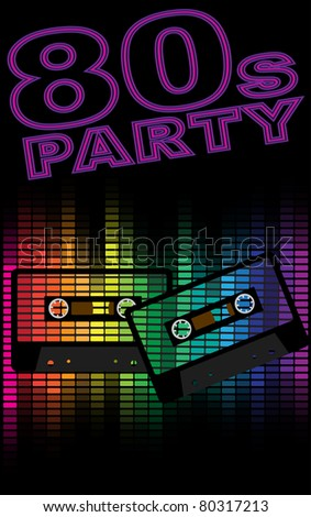 Retro Party Background - Retro Audio Cassette Tapes and Equalizer on Black Background - stock photo