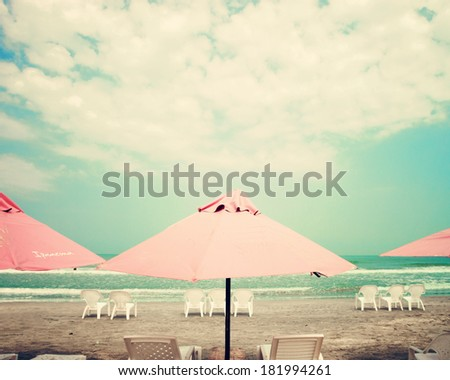 Retro Pastel Beach - stock photo