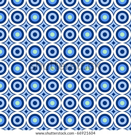 retro pattern with blue circles - stock photo