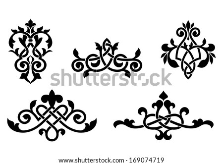 Retro patterns and elements in medieval style for design and ornate. Vector version also available in gallery - stock photo