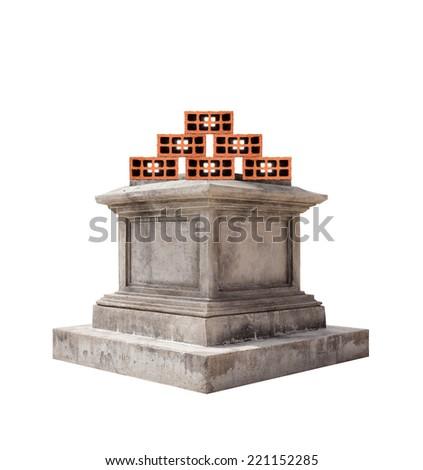 retro pedestal and orange bricks - stock photo