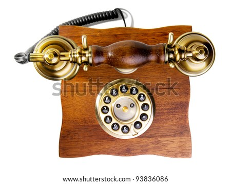 retro phone against a white background - stock photo