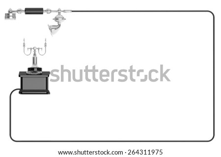 Retro Phone. Vintage Telephone as frame on a white background with space for text - stock photo