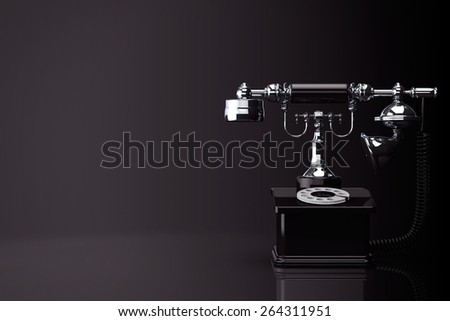 Retro Phone. Vintage Telephone on a black background - stock photo