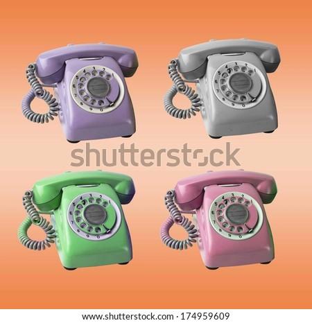 Retro phones - stock photo