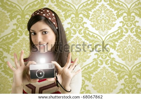 Retro photo camera shooting woman green sixties wallpaper vintage