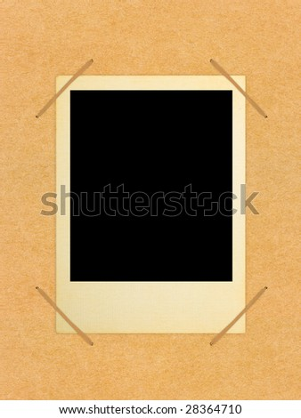 Retro photo card in album, abstract art background - stock photo