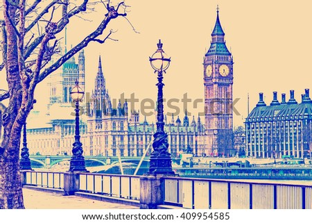 RETRO PHOTO FILTER EFFECT: Street Lamp on South Bank of River Thames with Big Ben, Elisabeth Tower and Palace of Westminster in Background, London, England, UK - stock photo