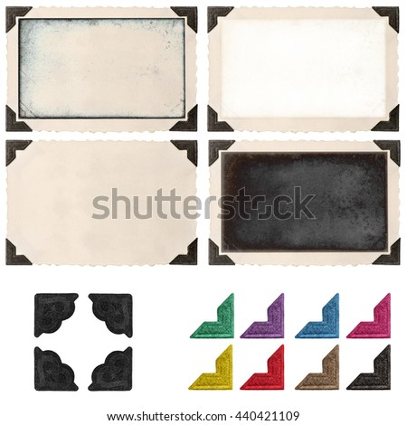 Retro photo frame with photo corner and empty field for your picture isolated on white background. Photo picture frame. Photo picture corner - stock photo