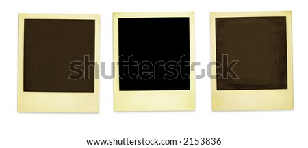 Retro Photo Frames: Three Old  instant photos Isolated On White (with clipping paths for easy framing your pictures and background removing if needed) - stock photo