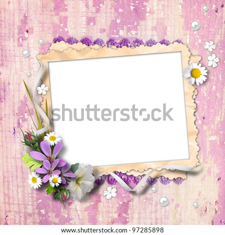 Retro photo framework with flowers on textured background vintage. Page to design photo books - stock photo