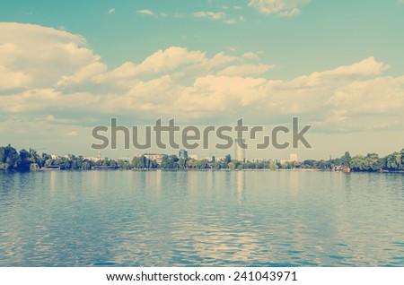 Retro Photo Of Bucharest City Skyline View - stock photo