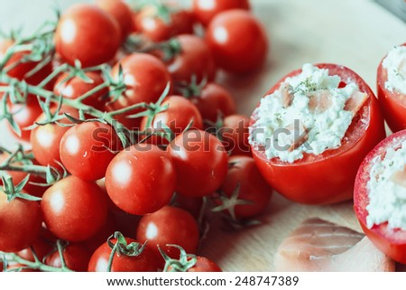 Retro Photo Of Healthy Fresh Red Tomatoes Vegetarian Food - stock photo