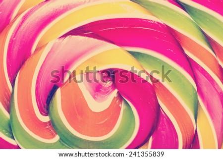 Retro Photo Of Lollipop Abstract Closeup - stock photo