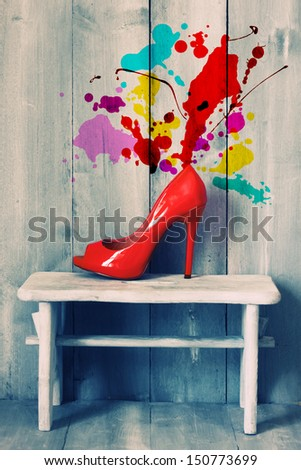 Retro photo of red shoes - stock photo