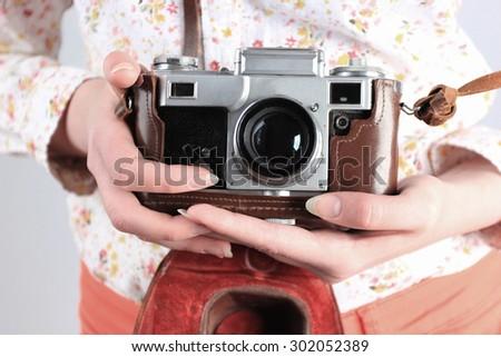 Retro photo, Retro photography, Lens camera, Old school - stock photo